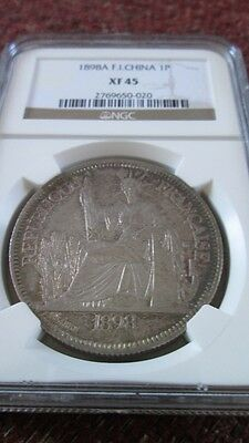 French Indochina 1 Piastre 1898A NGC XF 45