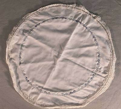 Handmade  Vintage White and Blue Lace Table Round Linens Little Blue Bows Cotton