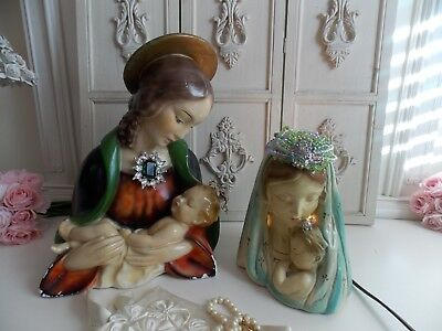 (2) Pc.vintage Chalkware Religious Virgin Mary,jesus & Mary Nightlight Statues