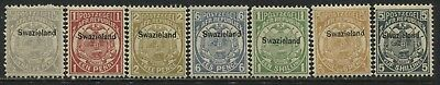 Swaziland overprinted 1889 values to 5/ unmounted mint NH