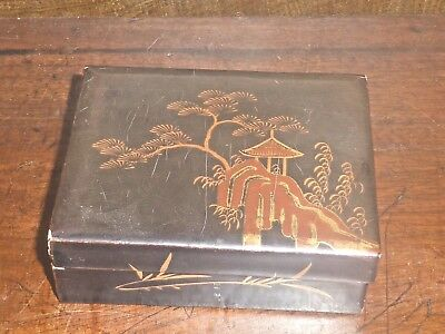 """VINTAGE small JAPANESE LACQUERED & GILDED TRINKET BOX - 3 5/8"""""""