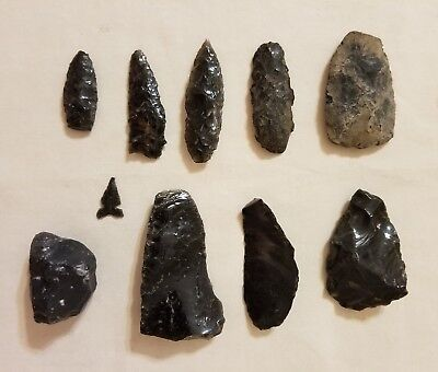 Lot of 9 NATIVE AMERICAN OBSIDIAN SPEARS/ARROWHEAD/KNIFE POINTS Found in Nevada*