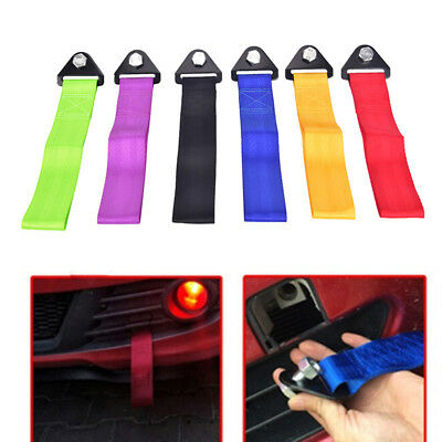 High Strength Racing Tow Strap Set for Car Front Rear Bumper Towing Hook Black M