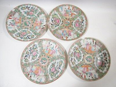 "c1900 Antique Chinese Famille ROSE MEDALLION 4 - 8.25"" Salad Plates"