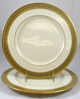 Lenox GREENFIELD 2 Dinner Plates Gold & Green Trim A+ CONDITION