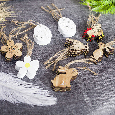 Easter Decorations Wooden Flower Rabbit Shapes Ornaments Party Decor Craft Gifts