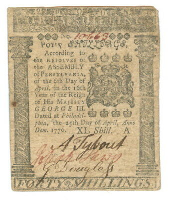 1776 Pennsylvania Forty Shillings Colonial Currency Note