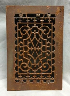 One Antique Cast Iron Decorative Heat Grate Floor Register 6X10 Vintage 762-18C