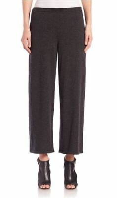 NWT Eileen Fisher Charcoal Grey Knit Merino Wool Straight Cropped Pant PL $218