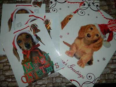 Dachshund Xmas Gift Bags Wiener Sausage Dog Present Wrap Set/5 Large Small Lot