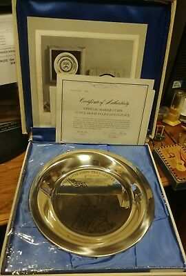Franklin Mint  Sterling Silver Marine Corps Scholarship Foundation Plate #106 OB