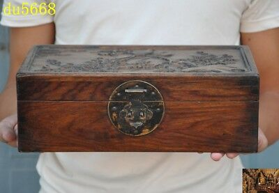 """12""""Chinese Huanghuali wood Hand carved Plum flower bird statue Jewelry Box boxes"""