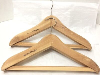 set of two 17 inch johnston and murphy thick wooden suit hangers NICE