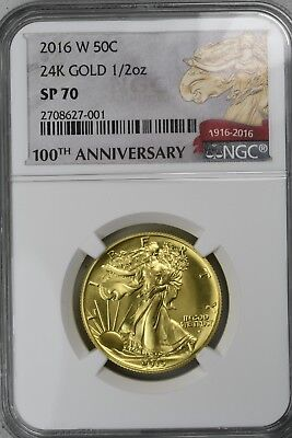 "2016W 50c Gold ""Walking Liberty"" Centennial NGC SP70 *Flawless*"