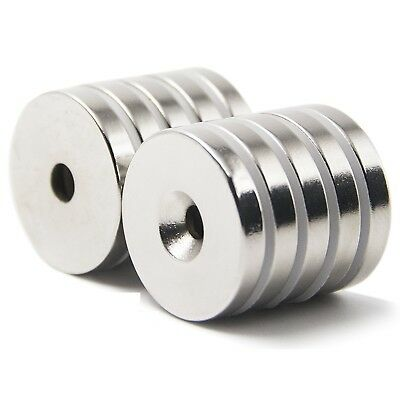"""25 50 Strong Countersunk Ring Magnets 1"""" x1/8 """" Hole 5mm Rare Earth Neodymium"""