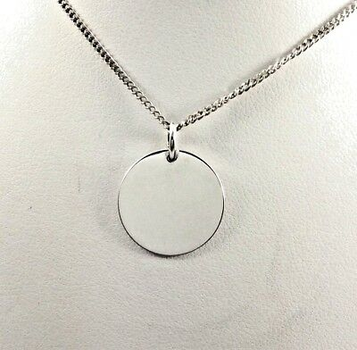 Solid 925 Sterling Silver 16mm Disc Pendant or Charm  Polished Finish Engravable