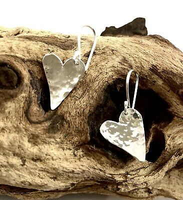 Solid 925 Sterling Silver Hammered Heart Drop Earrings