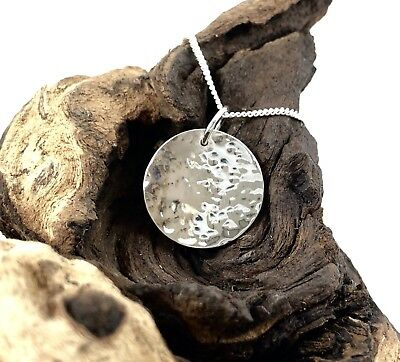 Solid 925 Sterling Silver 16mm Hammered Disc Pendant Reversible