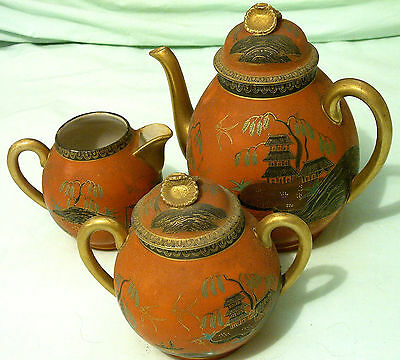Antique Japanese Hand-Painted w/ Gold Inlay Teapot Set, Creamer, Sugar, 4 Plates