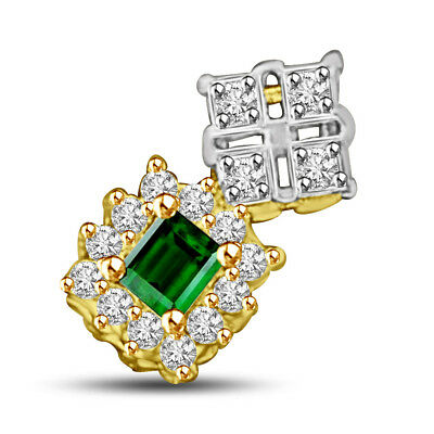 Two Tone Real Natural Green Emerald & Diamond Pendant in 18kt Yellow Gold P913