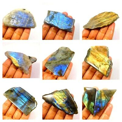 100% Natural Blue/Yellow Flashy Labradorite Slice Mineral Specimen NG10458-10507