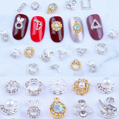 Charm 10Pcs New Chic 3D Nail Art Glitter Decoration Pearl Alloy Rhinestones DIY