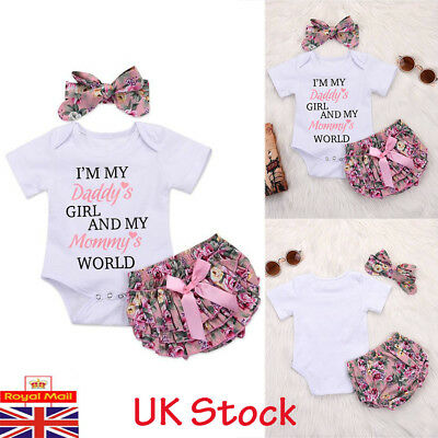 UK Newborn Baby Girls Romper Tops Ruffle Tutu Pants Headband Holiday Outfits Set