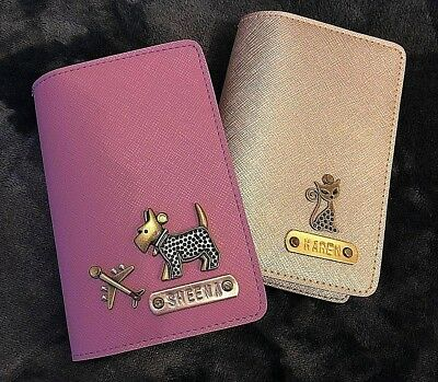 **Personalised** Leather Passport Cover Holder Free Name & Charm Travel Farewell