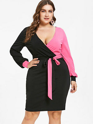 4dffccb6968 Plus Size Color Block Bodycon Surplice Dress Plunging Neck Long Sleeves  Dresses