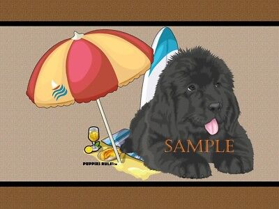 Puppies Rule Newfoundland Dog Breed Beach Buddy House Decor Door Mat Floor Rug