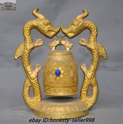 """10""""Old Chinese Royal Temple Bronze 24K Gold gilt Double Dragon Zhong Bell Statue"""