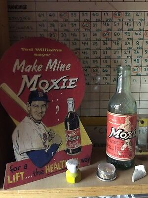 Ted Williams Vintage Moxie Sign And Bottle