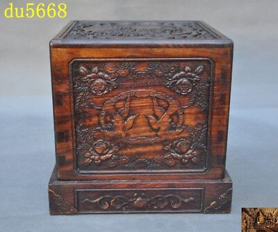 "8""Chinese dynasty Huanghuali Wood carved flower bird Seal stamp signet Box Boxes"