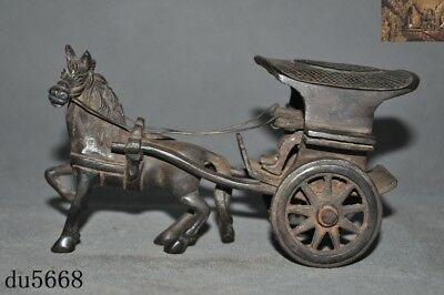 Rare Antiques chinese dynasty Bronze ancient people drive horse Pull Car Statue