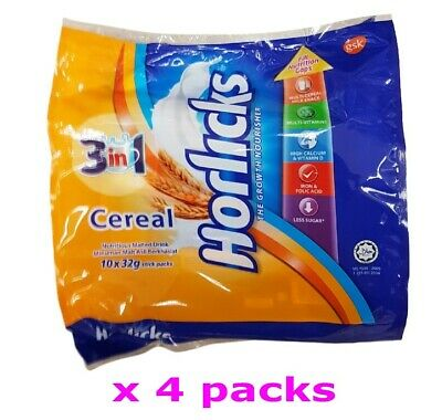 Horlicks Malaysia 3 in 1 Cereal Nutritious Malted Milk Drink Powder (32g x 40s )