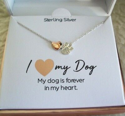 I Love My Dog Paw Print Necklace Forever In My Heart CZ Sterling Silver New Gift