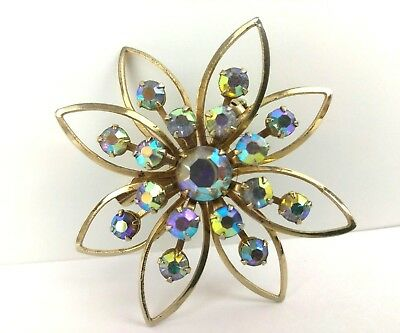 Vintage Crystal Rhinestone Starburst Star Brooch Pin Jewelry Gold Metal
