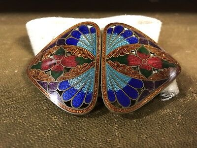 Art Nouveau Gilded And Guilloche Enamel Japanese Style Belt Buckle
