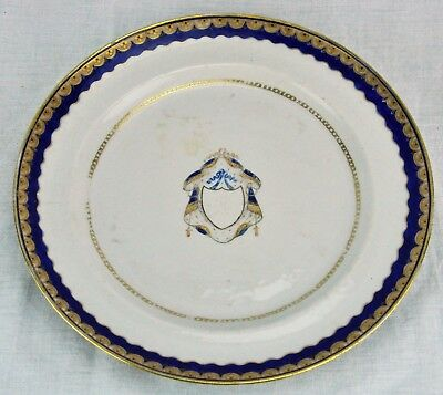 Antique Chinese Export Armorial Plate With Blue and Gold Rim. 9 ¾ (BI#MK/180621)