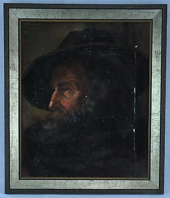 """19th Century """"Portrait of a Man in Hat"""" oil on canvas, signed.  (BI#МК/170810)"""