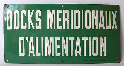 Rare Large Vintage French Industrial Green Enamel Sign for a Food Warehouse