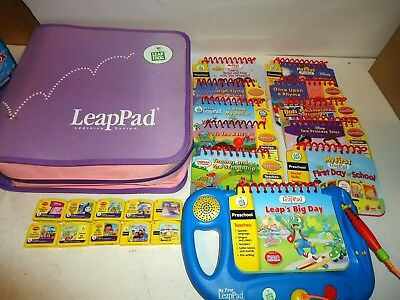 Leap Frog Learning System My First Leap Pad w/ 10 Books Cartridges & Carry Case