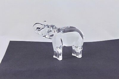Baccarat Clear Crystal Elephant With Trunk Up Figurine – Mint