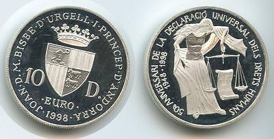 GS015 - Andorra 10 Diners 1998 KM#143 Human Rights Silber EURO