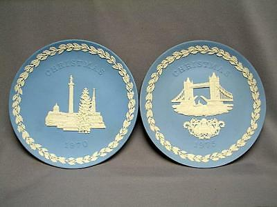 "VINTAGE WEDGWOOD JASPERWARE 8"" CHRISTMAS PLATES 1970 and 1975 VGC"