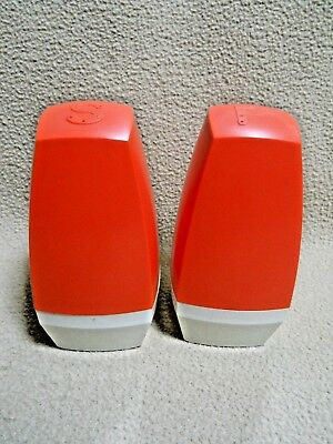 Vintage Large Range Size Stanley Home Orange & White Salt & Pepper Shakers/RETRO