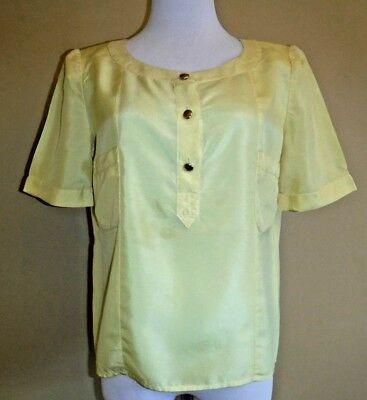 0441697ff565a VTG CHANEL Boutique Yellow Silk Fabulous Blouse Top Short Sleeve in size 38