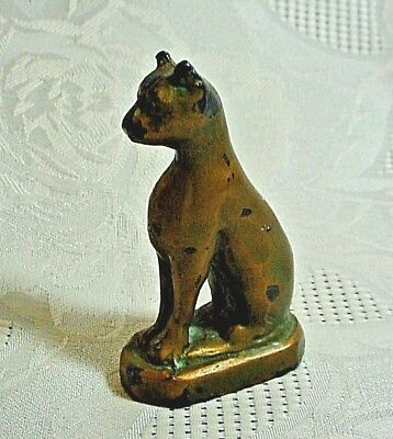 Small Vintage Egyptian-Style Bronze Cat-Weighs Over A Half Pound