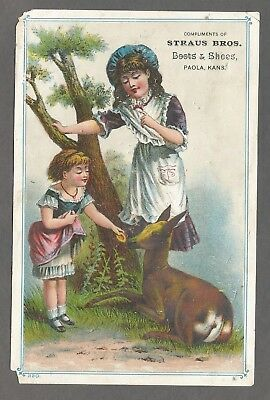 Victorian Trade Card - Straus Bros. Boots & Shoes - Paola, Kansas. Late 1800's