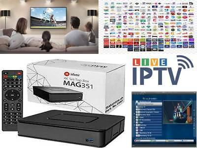 MAG 351 BOX 4K UHD Builtin Wifi Bluetooth ✮12 Month Worldwide IPTV✮ PLUG &  PLAY✮